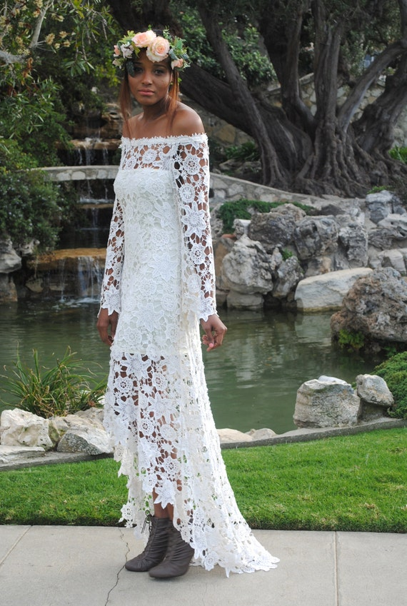 High Low Lace BOHEMIAN WEDDING DRESS Off Shoulder Crochet