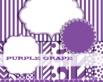 Purple digital paper chevron paper clip art stripe polka dot paper, purple frame clip art : p0176 3s3450 IP