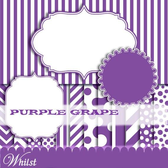 Purple digital paper chevron paper clip art stripe polka dot