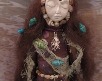 Spirit Doll, OOAK Andrina Mermaid Spirit Doll, Poppet Doll, Alter Doll, Art Doll