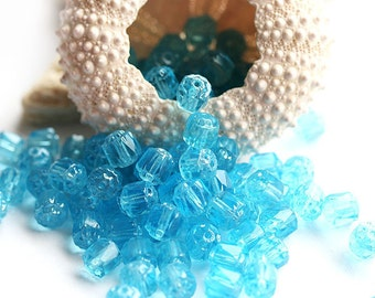 Aqua blue czech glass beads 6mm Cathedral round beads, sea color, fire polished ball beads - 20Pc - 0155