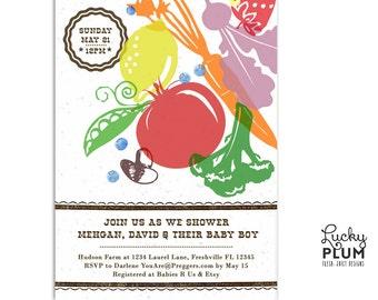 Locally Grown Baby Shower Invitation / Farmer's Market Invite / Fruit Vegetable Invite / Couple Baby Shower Invite / *Digital file*