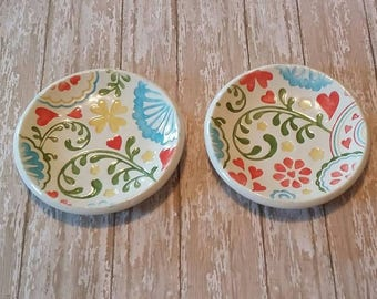 Set of 2 tea bag holder ring dish