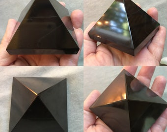 Huge BLACK TOURMALINE Pyramid 59mm by 61mm by 50mm polished gemstone root chakra, purification, protection, grounding, auric cleanser