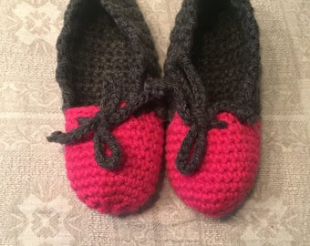 Hand-crocheted womens' slippers