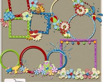 Pool Party Digital Scrapbook Cluster Frames