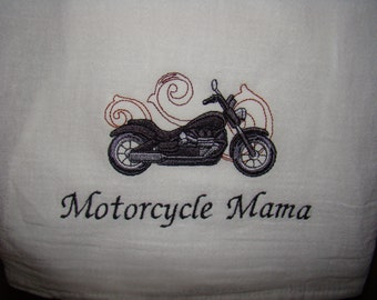 Motorcycle Mama Floursack Dish towel (kitchen towel, tea towel) Machine Embroidered