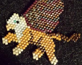 Baby Griffon Hand Beaded Brick Stitch Necklace /Choker Stocking Stuffer Holiday Gift