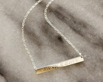 Coordinate Skinny Bar Necklace - Silver Bar Necklace - Anniversary Gift