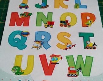 set of 26 letters alphabet stickers multicolor pattern cars, vehicles and monsters