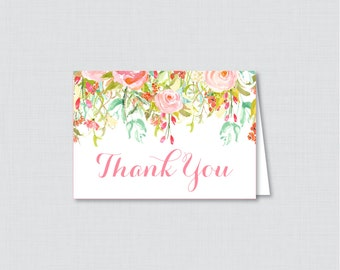 Printable Floral Thank You Card - Printable Instant Download - Pink and Gold Flower Baby Shower Thank You Card, Floral Thank You Card - 0041