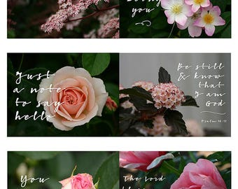 Printable Floral Journal Cards, Inspirational Quote, Bible Verse, Planner Cards, Encouragement Cards, Instant Download Printables, Pink