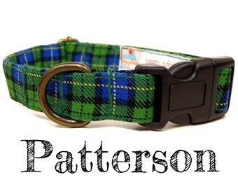 "Kelly Green Yellow Blue Plaid Dog Collar - Preppy Dog Collar - Boy Dog Collar - Organic Cotton - Antique Metal Hardware - ""Patterson"""