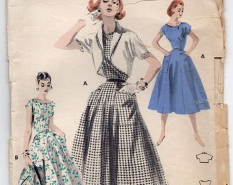 """1950's Butterick One-Piece Dress with Scalloped Neckline and Bolero pattern - Bust 32"""" - No. 7687"""