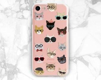 iPhone cat case iPhone 8 plus iPhone 5 case clear Cat in glasses print iPhone x cat case clear iPhone 7 plus Cat lover gift cat iPhone 8