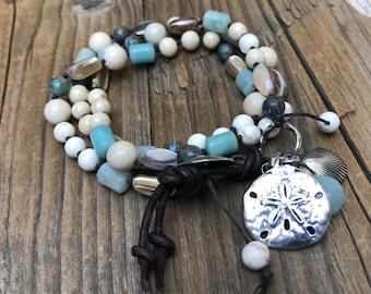 Triple Wrap Bracelet, Artisan Components, Artisan silver Button Closure, Leather Closure