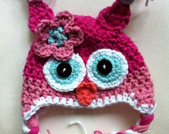Owl hat crochet owl hat pink owl hat newborn photo prop toddler owl hat