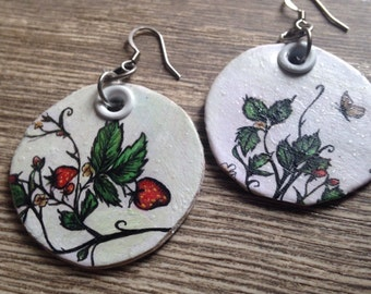 Love from Maine - Wild Strawberry Hand-Painted double sided dewey earrings
