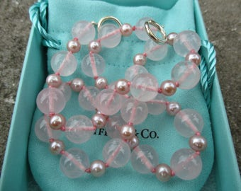 Genuine Tiffany & Co rose quartz and pearl necklace - sterling silver