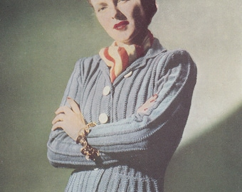 1940s LADY'S CARDIGAN SWEATER, Vintage Knitting Pattern, 34 inch, 3 ply, pdf instant download