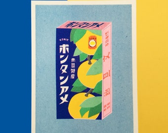 A risograph print of a package with Japanese powdery candy