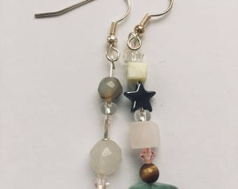 Green themed mismatched earrings