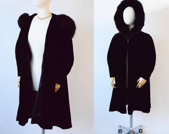 1950's  Black Silk Velvet Swing Coat |  Hooded Coat with Brown Fur