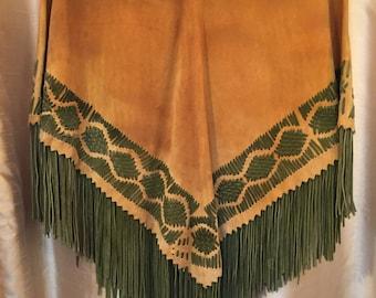 Vintage Leather Woven Woodstock Fringe Cape