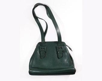 French Green Leather Handbag, Renouard Paris London, Luxuous Leatherwork