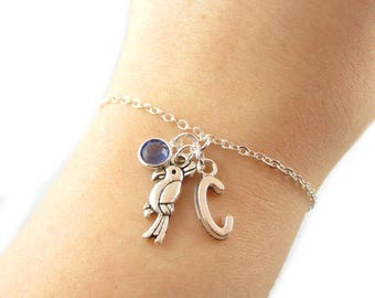 Parrot Bracelet- choose a birthstone and initial, Parrot Jewelry, Parrot Gift, Personalized Parrot, Bird Bracelet, Bird Jewelry, Bird Charm