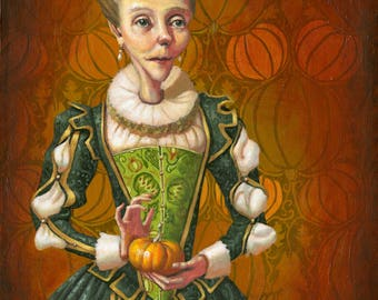 Whimsical Lady with Pumpkins Original Oil Painting by Samantha Long