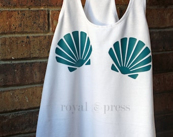 Mermaid Tank, Mermaid shells Tank, Mermaid Racerback Tank