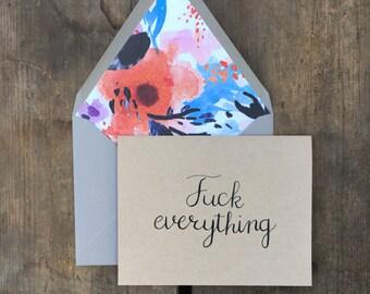 vulgar calligraphy card. sympathy card. greeting card. watercolor floral envelope liner.