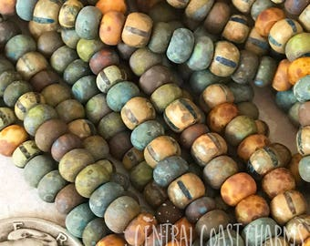 """Painted Sky 2 - Aged Striped 6/0 Czech Glass Rocaille Seed Beads - 20"""" strand - 4mm - Bohemian Matte Opaque Picasso - Central Coast Charms"""