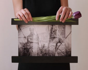 double exposed statue / dana college Nebraska / photo print wood banner half frame