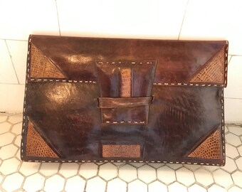 Vintage 1970s French Snakeskin Leather Patchwork Clutch Bag