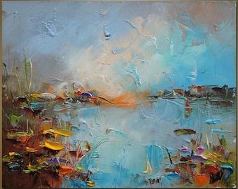 Landscape oil Painting, Water Lilies, Oil Painting Original, Palette knife Landscape, Kitchen Wall Decor, River Painting, Canvas Wall Decor