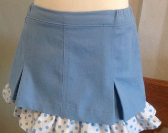Little Girls Jean Skirt with ruffle petticoat, party, birthday