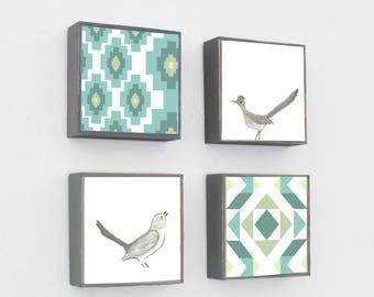 southwestern nursery decor - boho art for nursery - 4 set-5x5 art blocks- gender neutral baby- roadrunner bird art-baby animals art