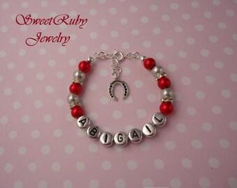 Personalized Girls Bracelet - Horseshoe/Horse Hoof Charm - Girls/Boys/Kids/Children/Ladies/Adults - w/ An Elegant Gift Box