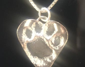 Fine Silver Pet Lover Heart Paw Necklace- Dog, Cat, FREE Shipping