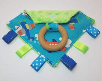Loopy Teether, Wooden Ring Teether, Sensory Ribbons Toy, Airplanes blue minky READY TO SHIP