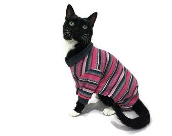 Pink and Gray Cat Pajamas-Pajamas for Cats-Cat Clothes-Cat Pajamas-Cat Clothing-Cat Onesie-Onesies for Cats-Clothes for Cats-Cat Jumper