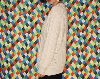 Vintage 70's Cable Knit Cardigan