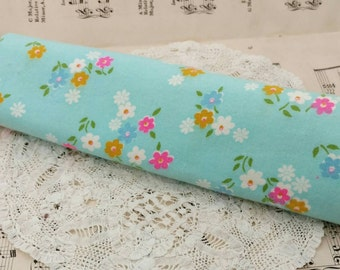 "Retro Aqua Blue Flannel Material - Vintage Shabby Chic Floral Cotton Flannel, Perfect Pajama Fabric, Making P.J.'s, Nursery Decor, 40""x20"""