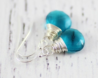 Teal Dangle Earrings, Sterling Silver Earrings, Wire Wrap Earrings, Teal Blue Earrings, Turquoise Earrings, Small Earrings, Drop Earrings
