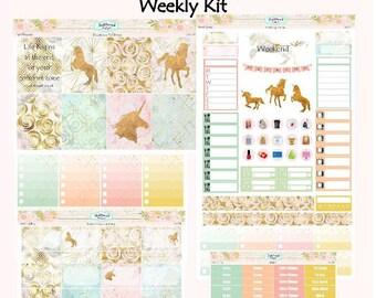 Planner Stickers Weekly Kit EC Vertical Pastel Galaxy