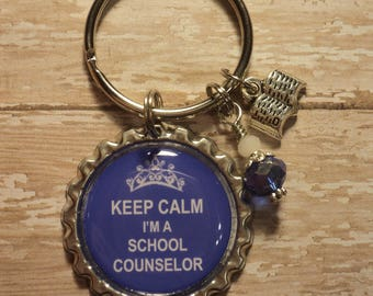 Keep Calm I'm a School/Guidance Counselor key chain with charms