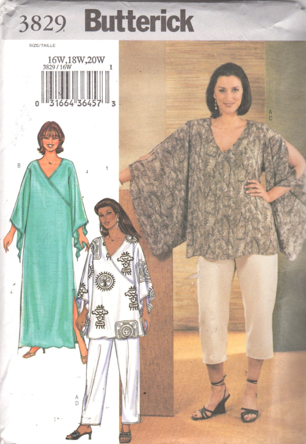 Butterick 3829 Plus Size Womens Pants Pullover Top Caftan Pattern ...