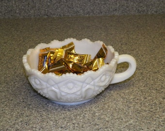 Milk Glass Tea Cup Candy Dish